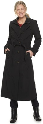 London Fog Women's TOWER By Hooded Long Trench Coat