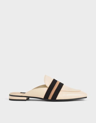 Charles & Keith Two-Tone Leather Loafer Mules