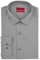 Alfani RED Fitted Silver Heathered Check Performance Stretch Easy Care Dress Shirt