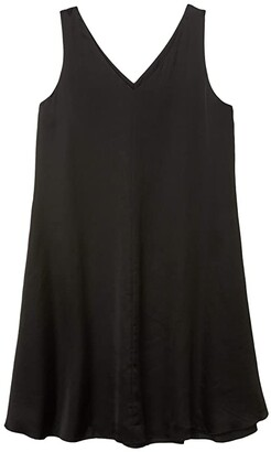 Eileen Fisher V-Neck Bias Dress (Black) Women's Dress
