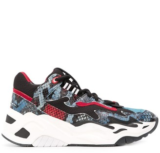 Just Cavalli High Top Platform Snakeskin Effect Sneakers
