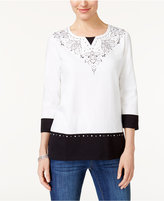 Alfred Dunner Easy Going Embellished Layered-Look Top