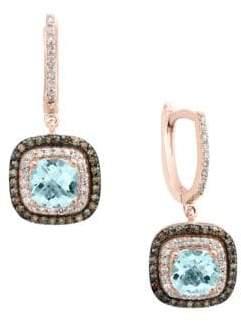 Effy Final Call Aquamarine, Diamond, Brown Diamond and 14K Rose Gold Drop Earrings