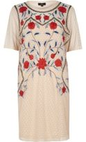 River Island Womens Cream mesh floral embroidered T-shirt dress