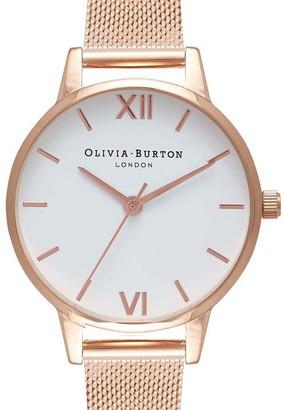Olivia Burton Women's Big Dial Rose Gold Mesh Watch