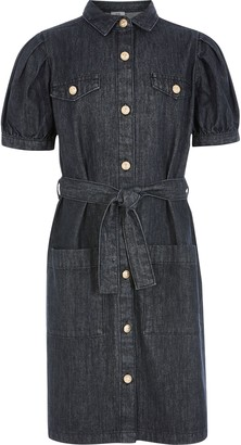 River Island Girls Black puff sleeve belted denim dress