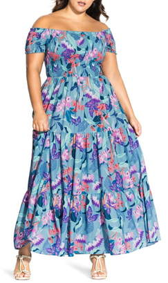 City Chic Chic City Mystery Floral Off-the Shoulder Maxi Dress