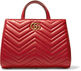 Gucci Gg Marmont Quilted Leather Tote - Red