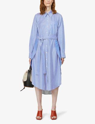 Stella McCartney Striped button-up cotton midi dress