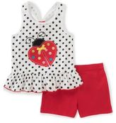 Kids Headquarters Little Girl's Two-Piece Lady Bug Topand Shorts Set