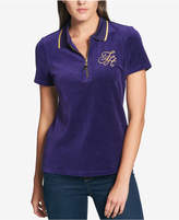 Tommy Hilfiger Velvet Embroidered Logo Polo Top, Created for Macy's