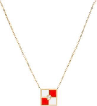 K Kane Code Flag Square Diamond Pendant Necklace - U