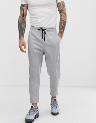 Bershka carrot fit trousers with elastic waist in grey