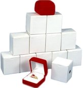 FindingKing 12 Ring Boxes Red Flocked Showcase Jewelry Gift Display
