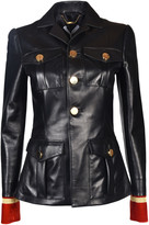 Givenchy Embroidered Cuff Leather Jacket