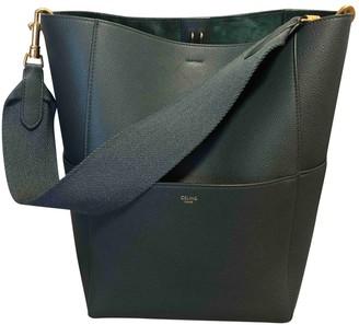 Celine Seau Sangle Green Leather Handbags