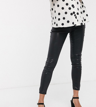 ASOS DESIGN Maternity high rise ridley 'skinny' jeans in black coated