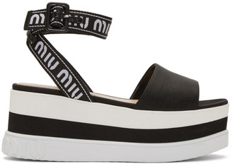 Miu Miu Black Nylon Platform Sandals