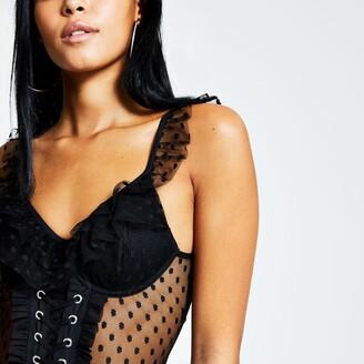 River Island Womens Black polka dot mesh lace-up corset bodysuit