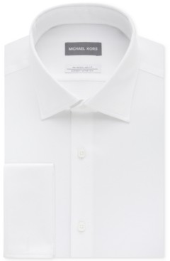 Michael Kors Men's Classic/Regular Fit Airsoft Stretch Non-Iron Performance Solid French Cuff Dress Shirt
