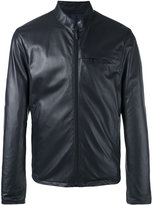 Giorgio Armani zipped leather jacket - men - Lamb Skin/Polyester - 48