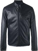 Giorgio Armani zipped leather jacket - men - Lamb Skin/Polyester - 50