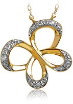 Jessica Simpson Women's Butterfly Diamond Pendant in 10K Yellow Gold