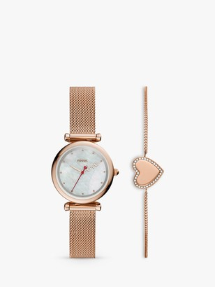 Fossil ES4867SET Women's Heart Chain Bracelet and Mesh Bracelet Strap Watch Gift Set, Rose Gold/Mother of Pearl