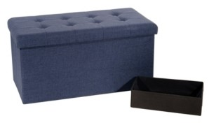 Seville Classics Foldable Tufted Storage Bench Ottoman