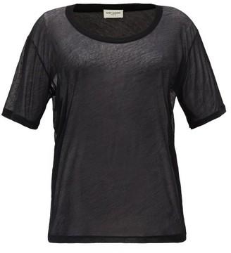 Saint Laurent Sheer Cotton-jersey T-shirt - Black