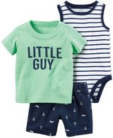 "Carter's Baby Boy Little Guy"" Tee, Striped Bodysuit & Anchor-Print Shorts"