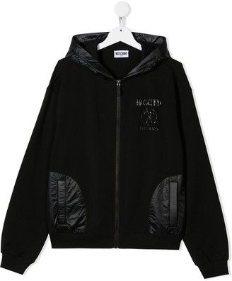MOSCHINO BAMBINO TEEN logo-print hooded jacket