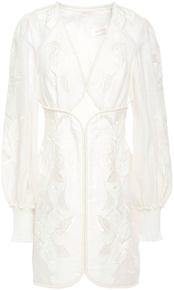 Zimmermann Cutout Embroidered Linen And Silk-blend Gauze Mini Dress