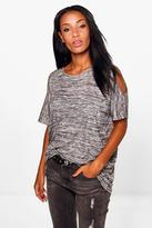 Boohoo Ella Cold Shoulder Marl Oversized T-Shirt