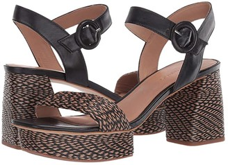 Bernardo Reagan Heeled Sandal (Natural/Black Multi Raffia) Women's Sandals