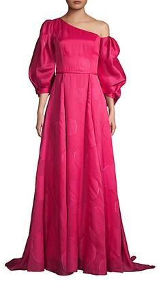 Carolina Herrera Puff-Sleeve One-Shoulder Silk-Blend Gown