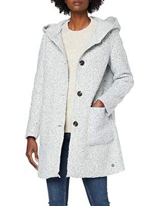 Tom Tailor Women's Kapuzen Bouclé Coat, (Silver Grey Melange 11282), S
