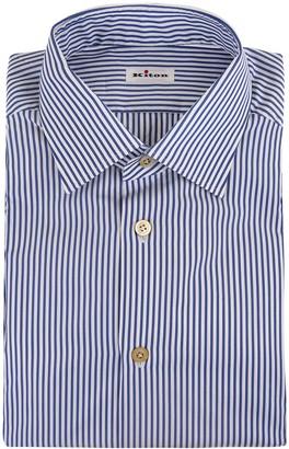 Kiton Man Shirt In White Poplin With Dark Blue Thin Stripes