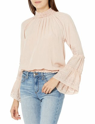 Ramy Brook Women's Skye Embroidered HIGH Neck Long Sleeve Blouse