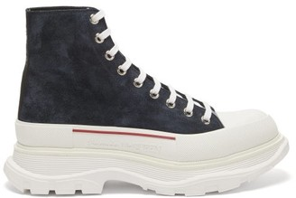 Alexander McQueen Chunky-sole High-top Suede Trainers - Navy Multi