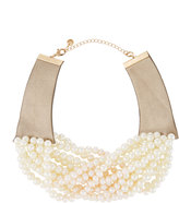 Lydell NYC Multi-Strand Pearlescent-Beaded Torsade Choker Necklace, White
