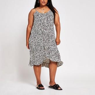 River Island Plus black print ruffle trim slip dress