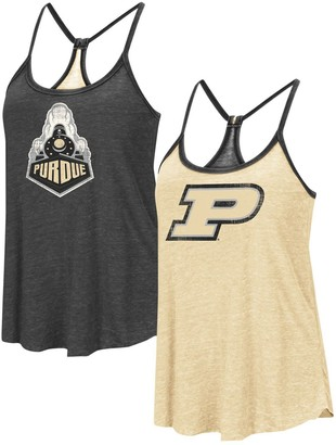 Colosseum Women's Heathered Gold/Heathered Black Purdue Boilermakers Clearly Inside Reversible Tank Top