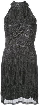 Halston metallic sleeveless mini dress