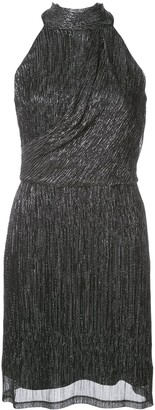 Halston Metallic Sleeveless Mini Dress