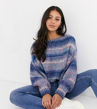 Asos DESIGN Petite off shoulder sweater in space dye yarn