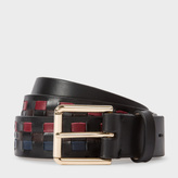 Paul Smith Men's Black Woven Check Leather Belt