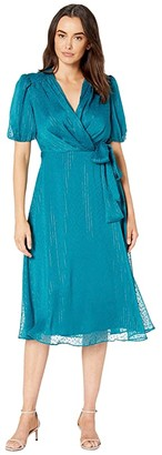 Maggy London Metallic Stripe Clip Ruffle Dress (Dark Teal) Women's Dress