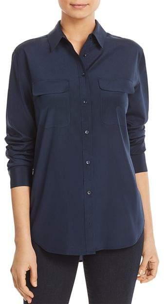 9908b22971 Navy Long Silk Sleeve Shirt - ShopStyle