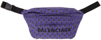Balenciaga Navy and Black Paisley Wheel Belt Pouch